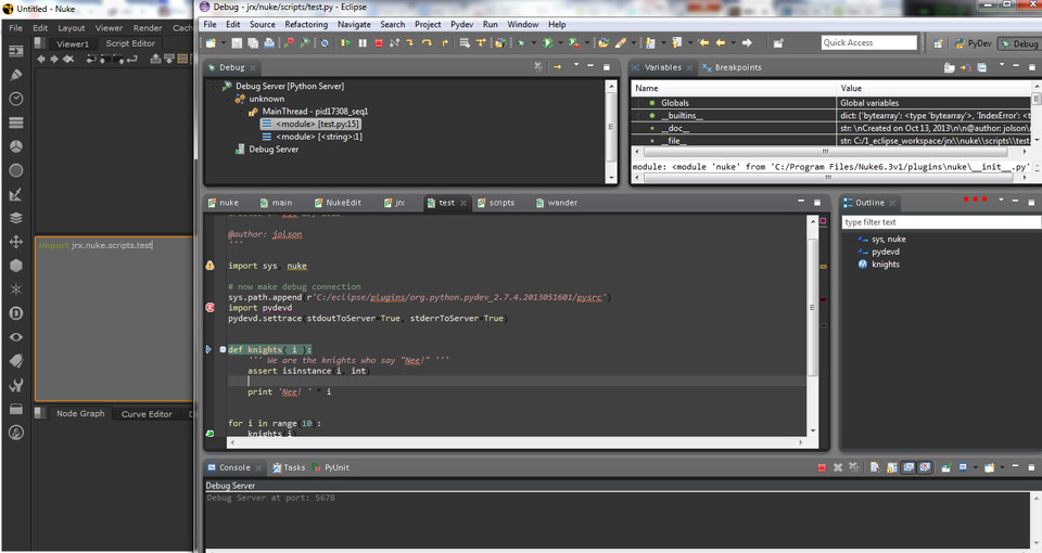 Debugging python code IN nuke with Eclipse (step through like a pro!) - Written Tutorials